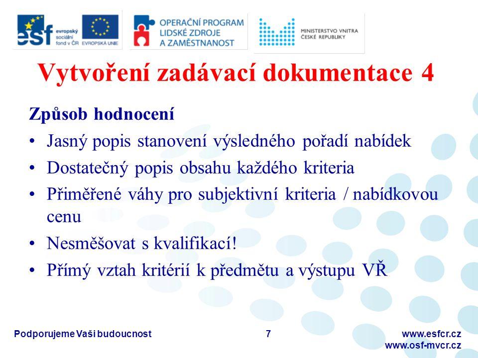 Vytvoření zadávací dokumentace 5 Přiměřené lhůty Více je více Prodloužení v případě dodatečných informací Pro všechny uchazeče stejné Podporujeme Vaši budoucnostwww.esfcr.cz www.osf-mvcr.cz 8