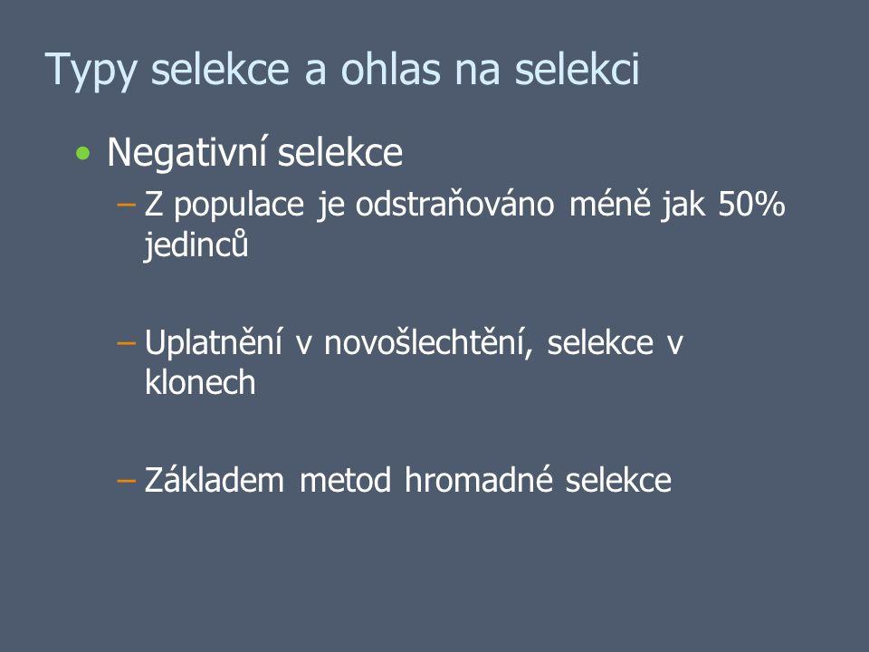 Typy selekce a ohlas na selekci Negativní selekce –Z populace je odstraňováno méně jak 50% jedinců –Uplatnění v novošlechtění, selekce v klonech –Základem metod hromadné selekce