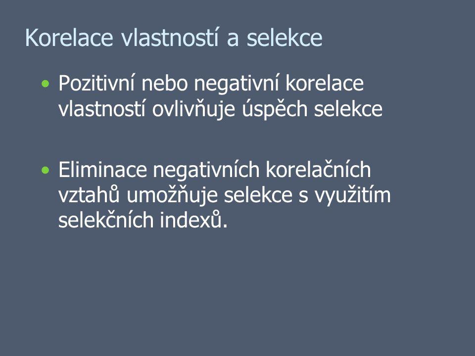 Korelace vlastností a selekce Pozitivní nebo negativní korelace vlastností ovlivňuje úspěch selekce Eliminace negativních korelačních vztahů umožňuje selekce s využitím selekčních indexů.