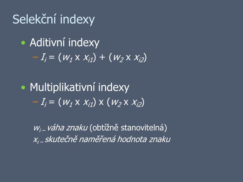 Selekční indexy Aditivní indexy –I i = (w 1 x x i1 ) + (w 2 x x i2 ) Multiplikativní indexy –I i = (w 1 x x i1 ) x (w 2 x x i2 ) w i – váha znaku (obtížně stanovitelná) x i – skutečně naměřená hodnota znaku
