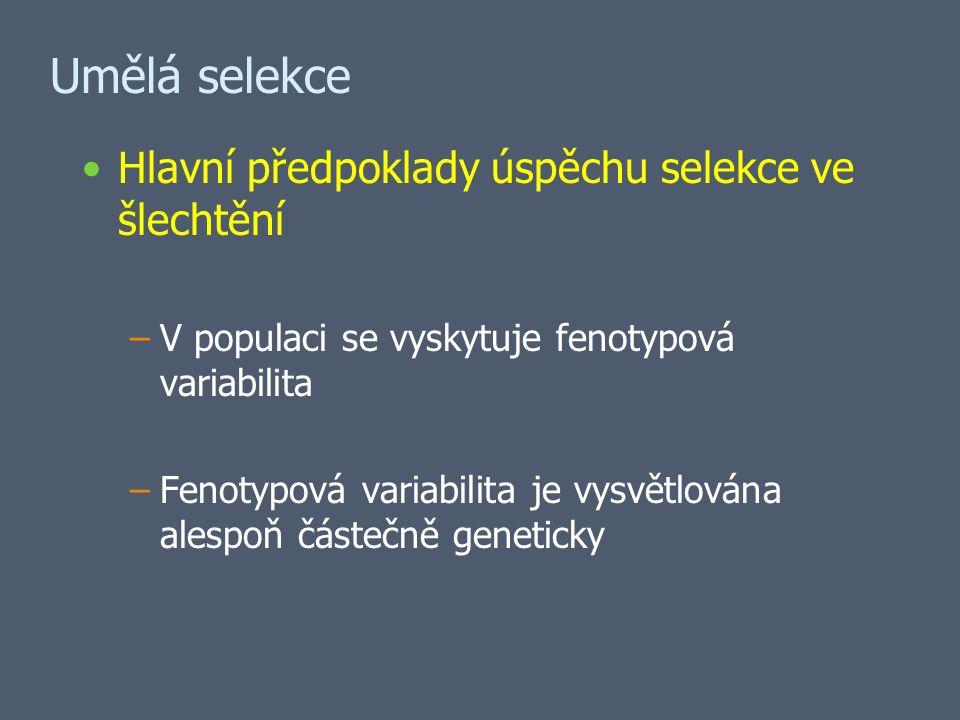 Umělá selekce Hlavní předpoklady úspěchu selekce ve šlechtění –V populaci se vyskytuje fenotypová variabilita –Fenotypová variabilita je vysvětlována alespoň částečně geneticky
