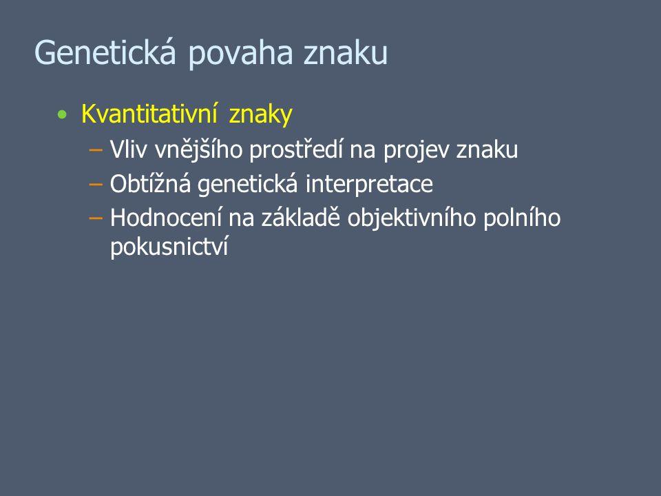Genetická povaha znaku Kvantitativní znaky –Vliv vnějšího prostředí na projev znaku –Obtížná genetická interpretace –Hodnocení na základě objektivního polního pokusnictví
