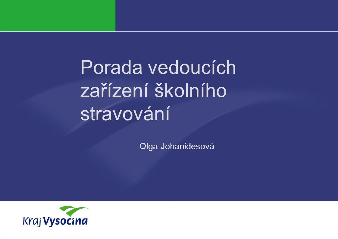 PREZENTUJÍCÍ Porada vedoucích zařízení školního stravování Olga Johanidesová