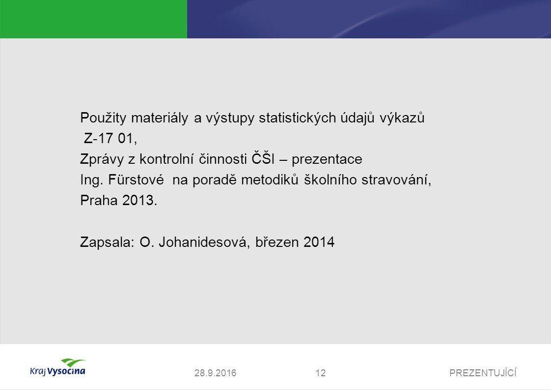 PREZENTUJÍCÍ1228.9.2016 Použity materiály a výstupy statistických údajů výkazů Z-17 01, Zprávy z kontrolní činnosti ČŠI – prezentace Ing.