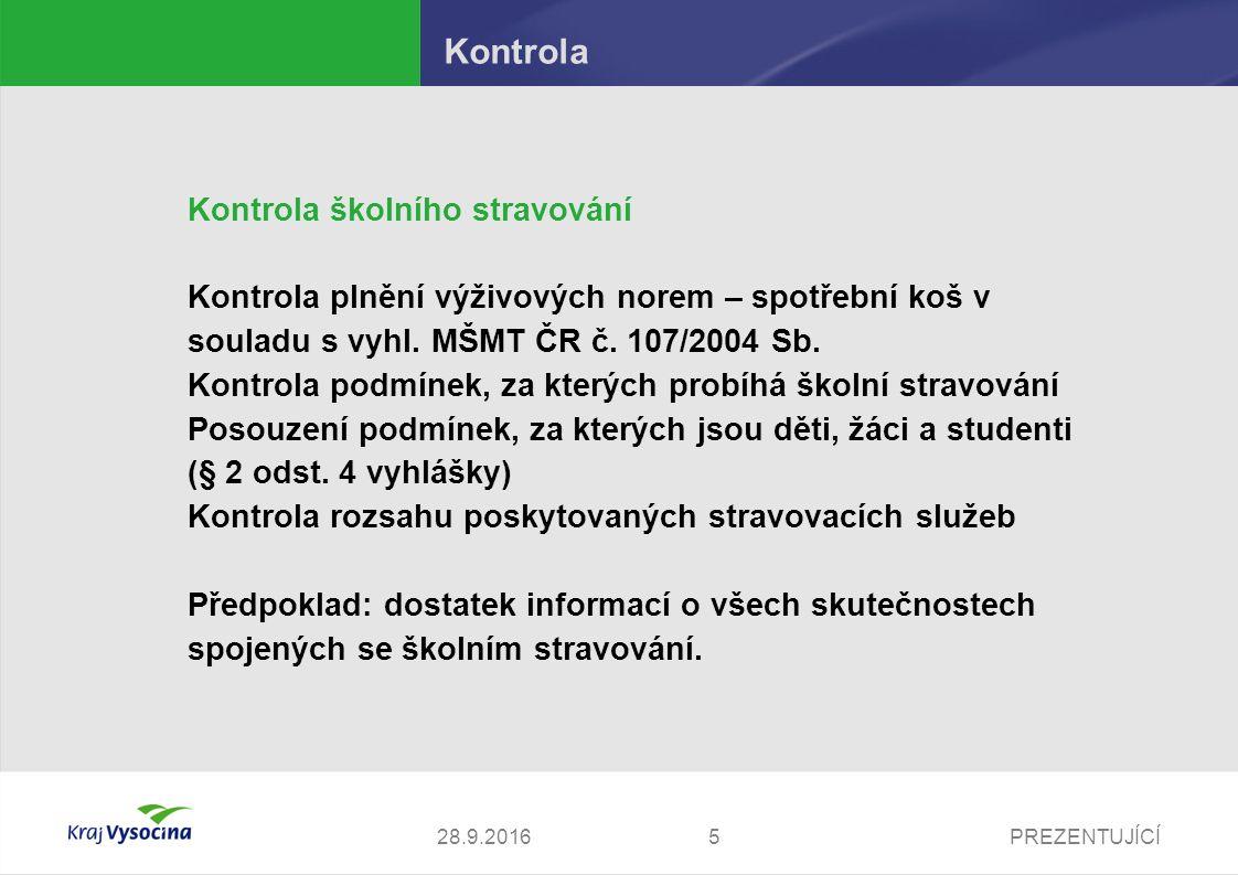PREZENTUJÍCÍ Kontrola Kontrola školního stravování Kontrola plnění výživových norem – spotřební koš v souladu s vyhl. MŠMT ČR č. 107/2004 Sb. Kontrola
