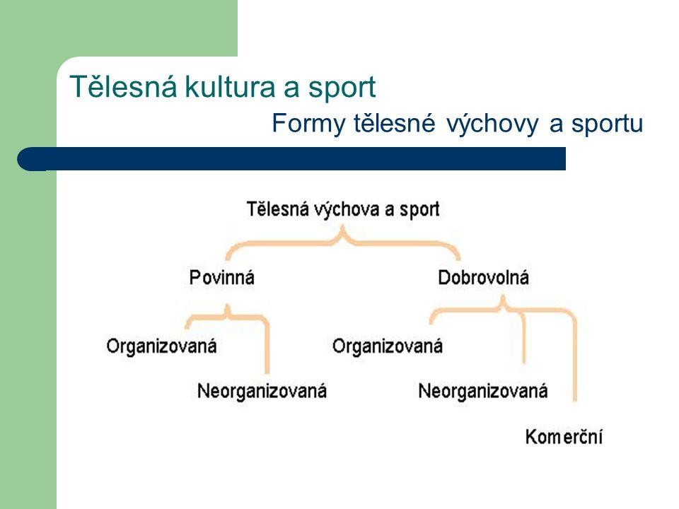 Tělesná kultura a sport Formy tělesné výchovy a sportu