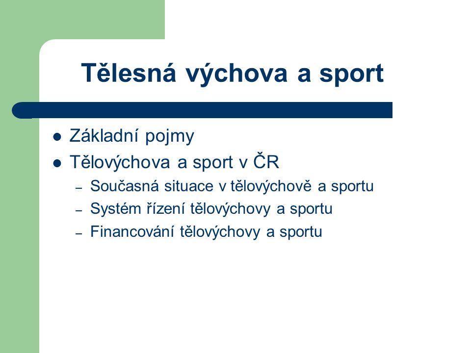 Základní pojmy Tělovýchova a sport v ČR – Současná situace v tělovýchově a sportu – Systém řízení tělovýchovy a sportu – Financování tělovýchovy a sportu Tělesná výchova a sport