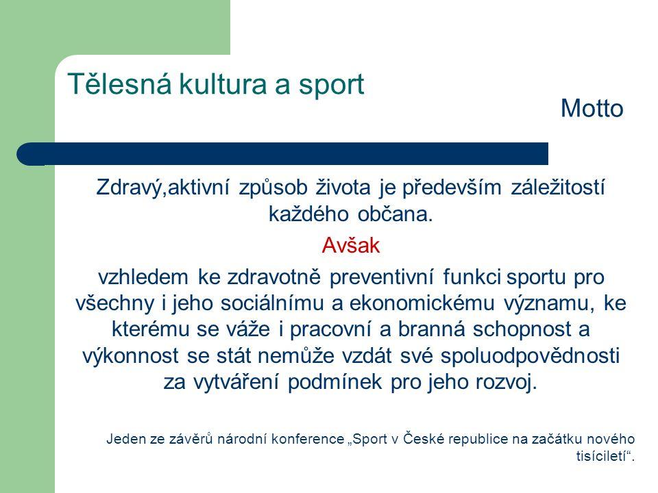 Tělesná kultura a sport Motto Zdravý,aktivní způsob života je především záležitostí každého občana.