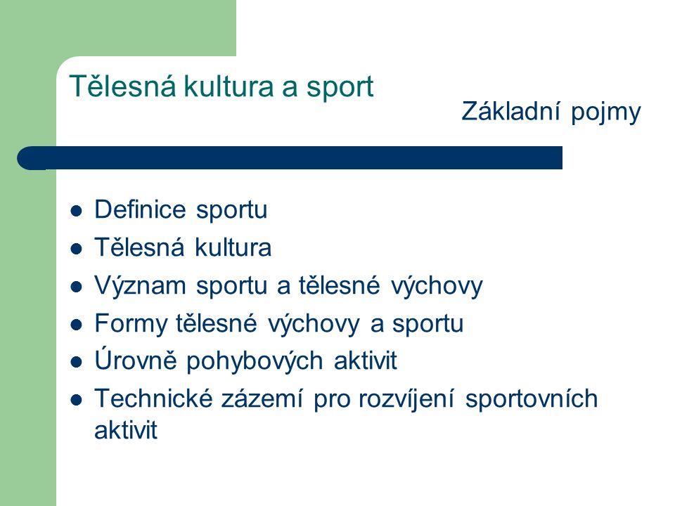Tělesná kultura a sport Ekonomická fakta