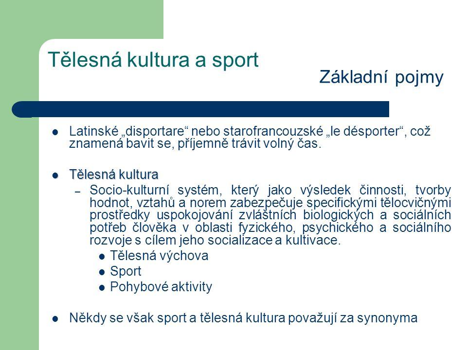 Tělesná kultura a sport Základní pojmy Sportem rozumíme všechny formy fyzické aktivity, která přispívá k fyzické zdatnosti, mentální pohodě a sociální interakci jako je hra, rekreace, organizovaný nebo soutěžní sport, stejně jako domácí sport a hry.