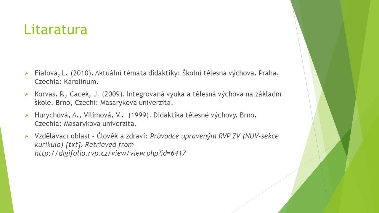 Litaratura  Fialová, L. (2010). Aktuální témata didaktiky: Školní tělesná výchova.