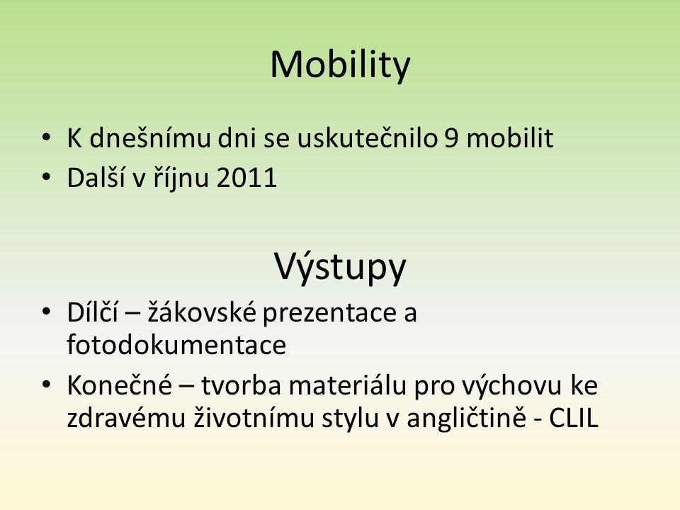 Mobility K dnešnímu dni se uskutečnilo 9 mobilit Další v říjnu 2011 Výstupy Dílčí – žákovské prezentace a fotodokumentace Konečné – tvorba materiálu p