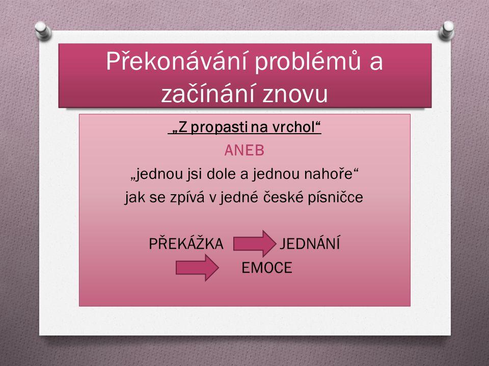 """Překonávání problémů a začínání znovu """"Z propasti na vrchol ANEB """"jednou jsi dole a jednou nahoře jak se zpívá v jedné české písničce PŘEKÁŽKA JEDNÁNÍ EMOCE"""