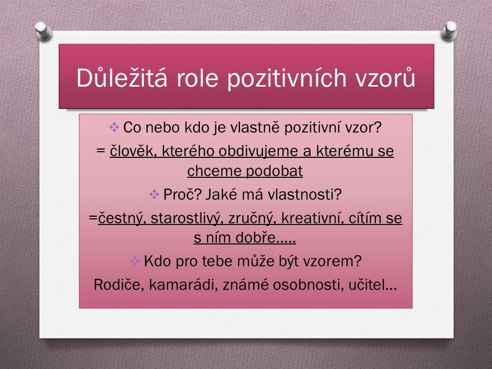 Důležitá role pozitivních vzorů  Co nebo kdo je vlastně pozitivní vzor.