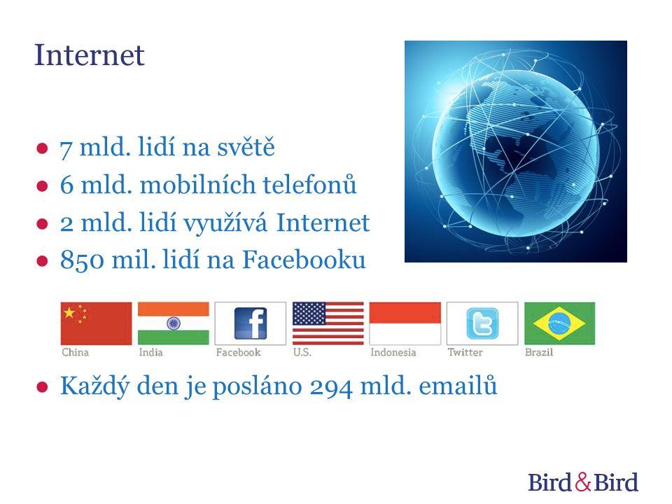 Internet ●7 mld. lidí na světě ●6 mld. mobilních telefonů ●2 mld.