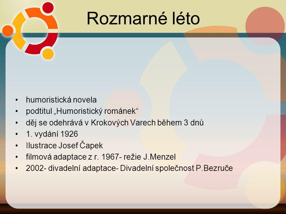 """Rozmarné léto humoristická novela podtitul """"Humoristický románek"""" děj se odehrává v Krokových Varech během 3 dnů 1. vydání 1926 Ilustrace Josef Čapek"""