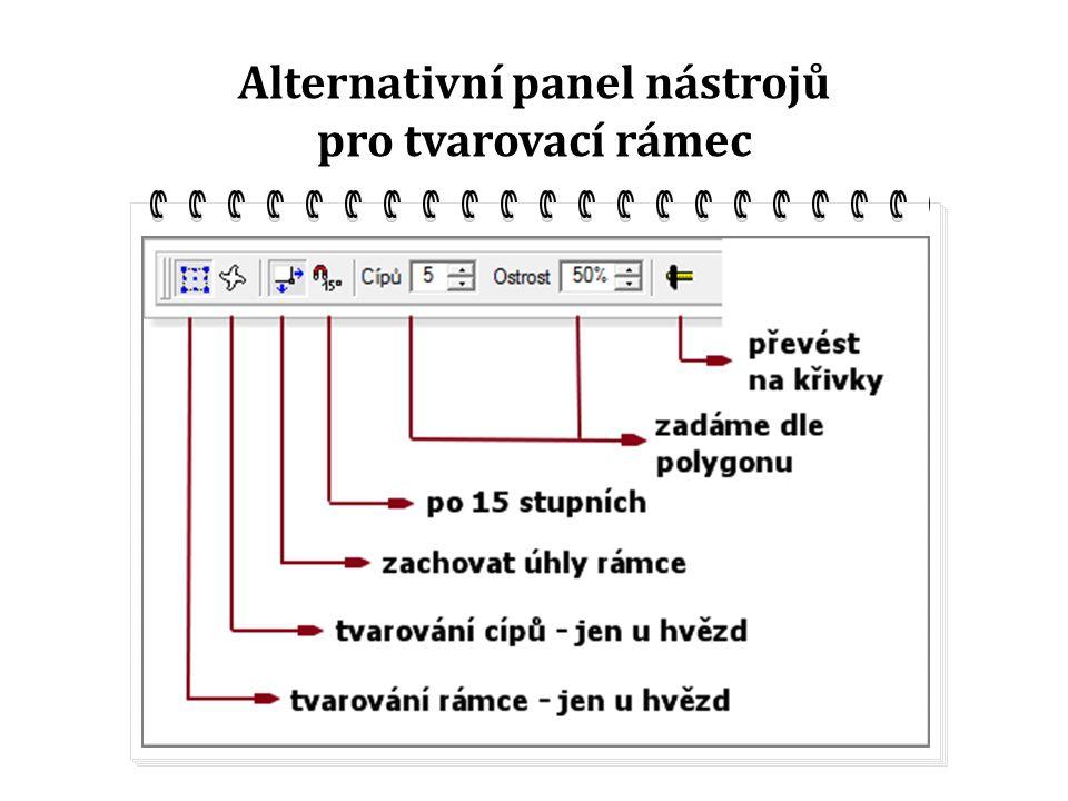 Alternativní panel nástrojů pro tvarovací rámec