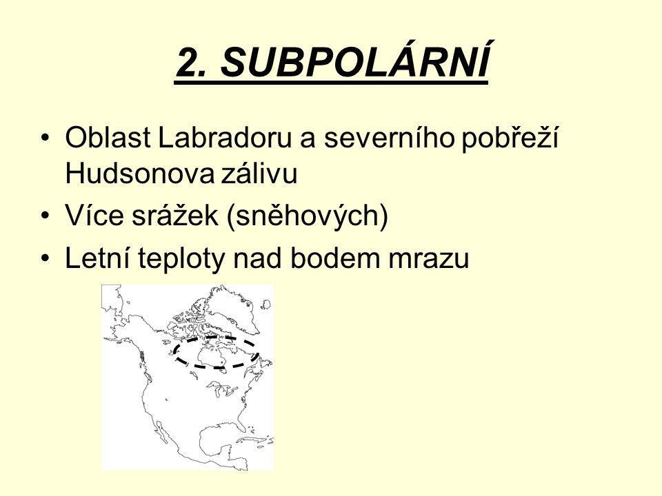 2. SUBPOLÁRNÍ Oblast Labradoru a severního pobřeží Hudsonova zálivu Více srážek (sněhových) Letní teploty nad bodem mrazu