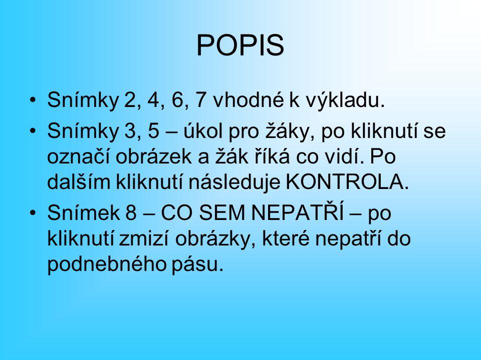 POPIS Snímky 2, 4, 6, 7 vhodné k výkladu.