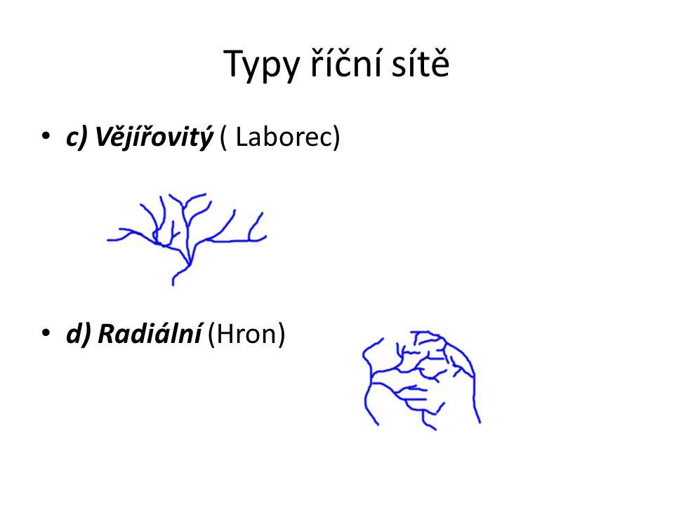 Typy říční sítě c) Vějířovitý ( Laborec) d) Radiální (Hron)