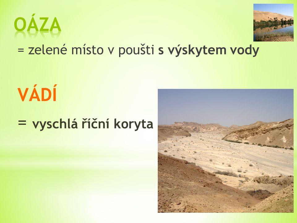 = zelené místo v poušti s výskytem vody VÁDÍ = vyschlá říční koryta