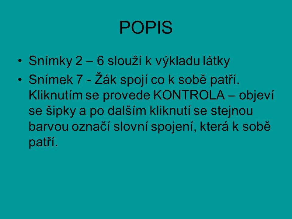 POPIS Snímky 2 – 6 slouží k výkladu látky Snímek 7 - Žák spojí co k sobě patří.