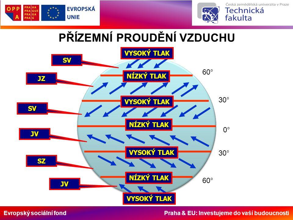 Evropský sociální fond Praha & EU: Investujeme do vaší budoucnosti SV JV JV SZ JZ SV NÍZKÝ TLAK VYSOKÝ TLAK NÍZKÝ TLAK VYSOKÝ TLAK 60° 30° 0° 60° 30° VYSOKÝ TLAK PŘÍZEMNÍ PROUDĚNÍ VZDUCHU