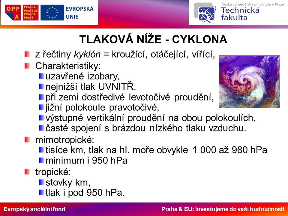 Evropský sociální fond Praha & EU: Investujeme do vaší budoucnosti TLAKOVÁ NÍŽE - CYKLONA z řečtiny kyklón = kroužící, otáčející, vířící, Charakterist