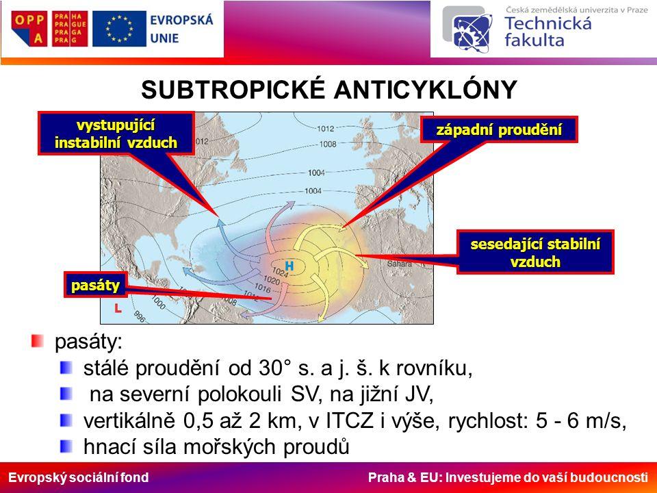 Evropský sociální fond Praha & EU: Investujeme do vaší budoucnosti západní proudění sesedající stabilní vzduch pasáty vystupující instabilní vzduch SUBTROPICKÉ ANTICYKLÓNY pasáty: stálé proudění od 30° s.