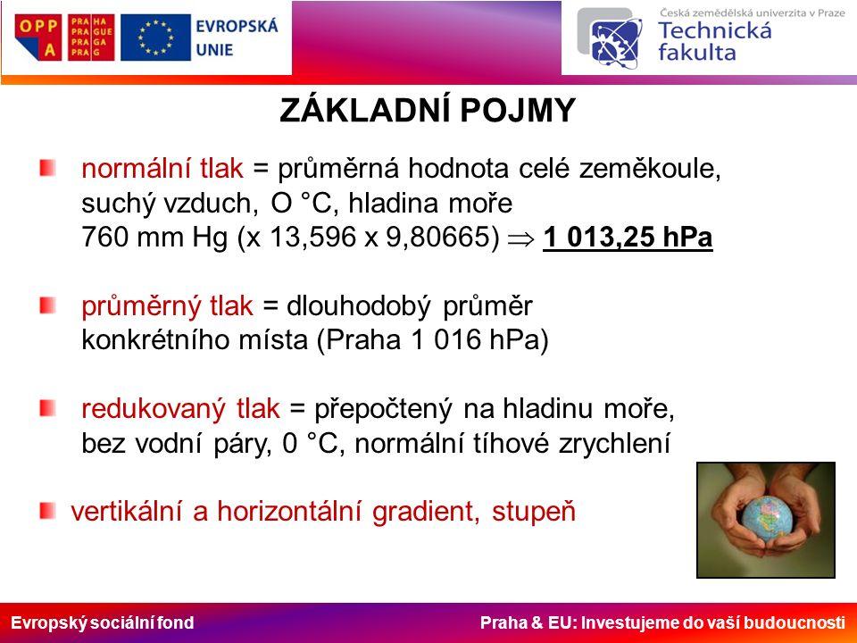 Evropský sociální fond Praha & EU: Investujeme do vaší budoucnosti TLAKOVÉ POLE V ČERVENCI nízký tlak vysoký tlak