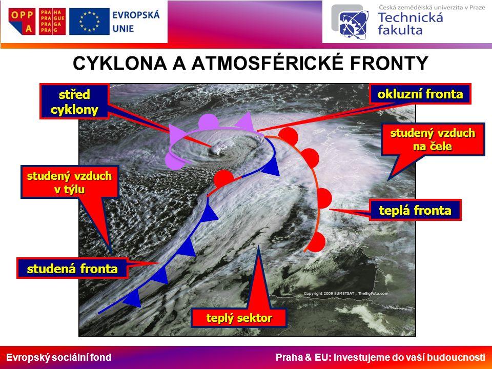 Evropský sociální fond Praha & EU: Investujeme do vaší budoucnosti CYKLONA A ATMOSFÉRICKÉ FRONTY studená fronta teplá fronta okluzní fronta střed cyklony teplý sektor studený vzduch v týlu studený vzduch na čele