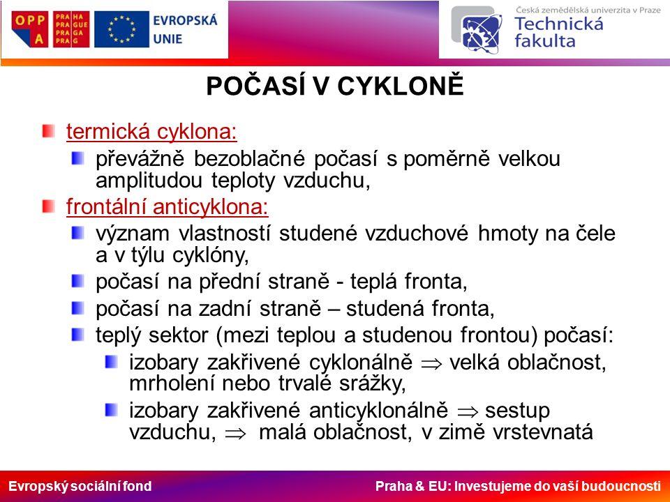 Evropský sociální fond Praha & EU: Investujeme do vaší budoucnosti POČASÍ V CYKLONĚ termická cyklona: převážně bezoblačné počasí s poměrně velkou ampl