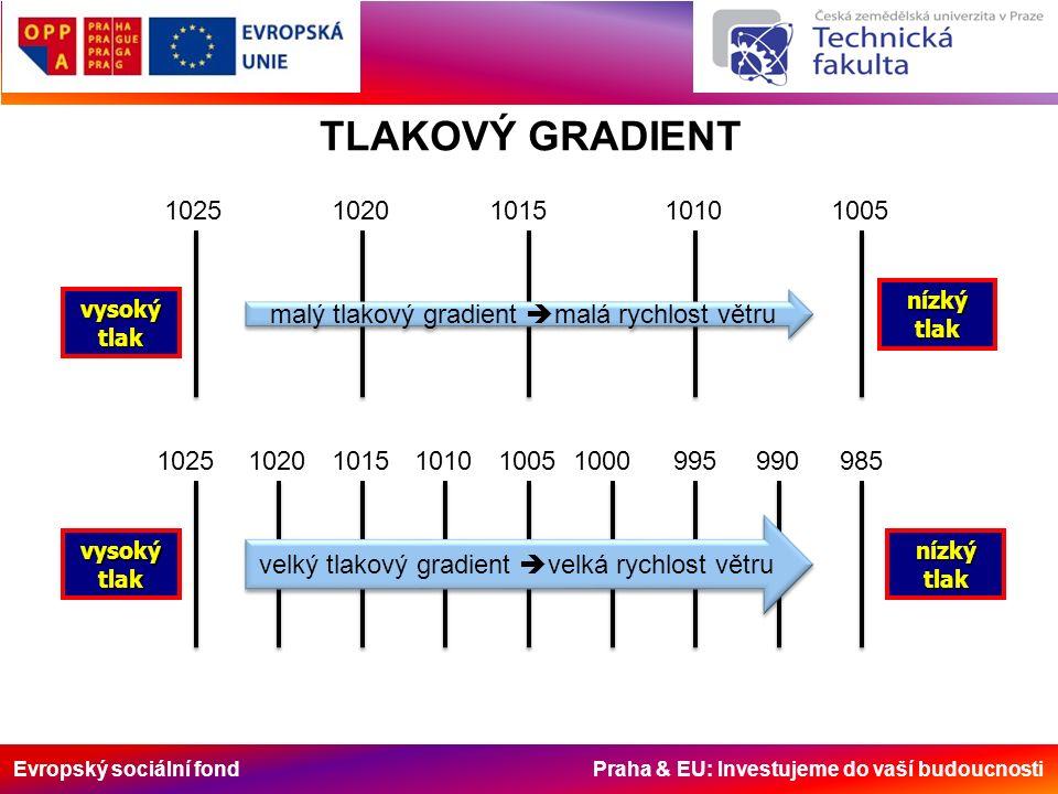 Evropský sociální fond Praha & EU: Investujeme do vaší budoucnosti TLAKOVÝ GRADIENT vysokýtlak nízkýtlak vysokýtlaknízkýtlak 10251010101510201005 102510151020101010051000995990985 malý tlakový gradient  malá rychlost větru velký tlakový gradient  velká rychlost větru