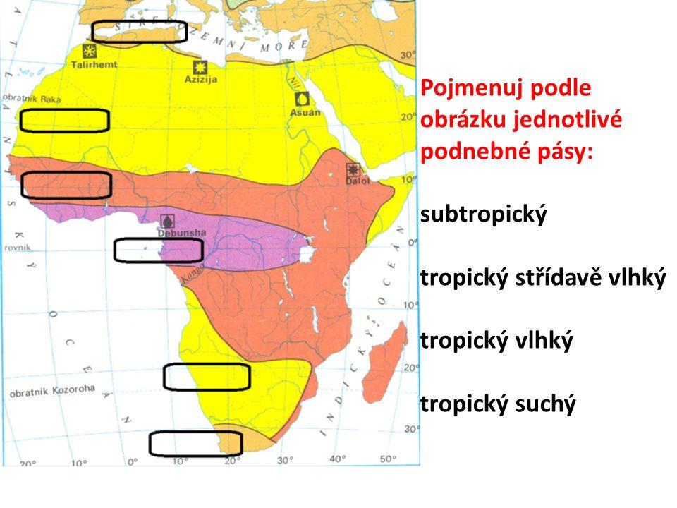 Pojmenuj podle obrázku jednotlivé podnebné pásy: subtropický tropický střídavě vlhký tropický vlhký tropický suchý