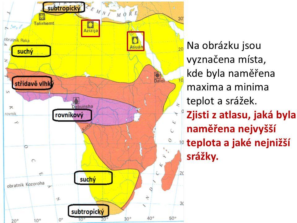 Na obrázku jsou vyznačena místa, kde byla naměřena maxima a minima teplot a srážek.