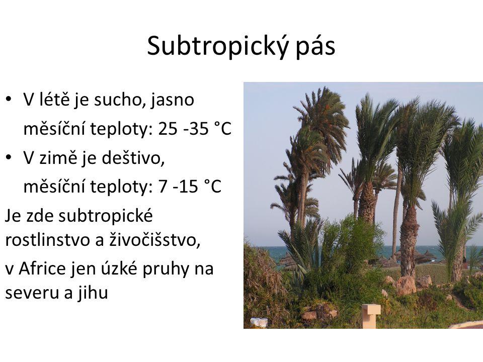 Subtropický pás V létě je sucho, jasno měsíční teploty: 25 -35 °C V zimě je deštivo, měsíční teploty: 7 -15 °C Je zde subtropické rostlinstvo a živočišstvo, v Africe jen úzké pruhy na severu a jihu