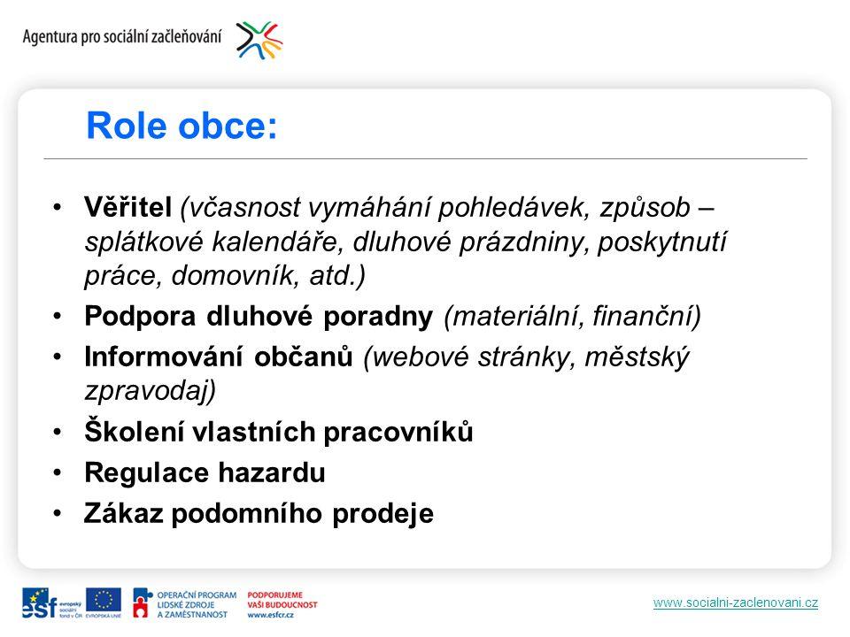 www.socialni-zaclenovani.cz Role obce: Věřitel (včasnost vymáhání pohledávek, způsob – splátkové kalendáře, dluhové prázdniny, poskytnutí práce, domov