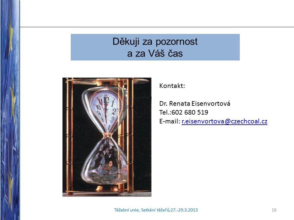 Těžební unie, Setkání těžařů,27.-29.3.201316 Děkuji za pozornost a za Váš čas Kontakt: Dr.