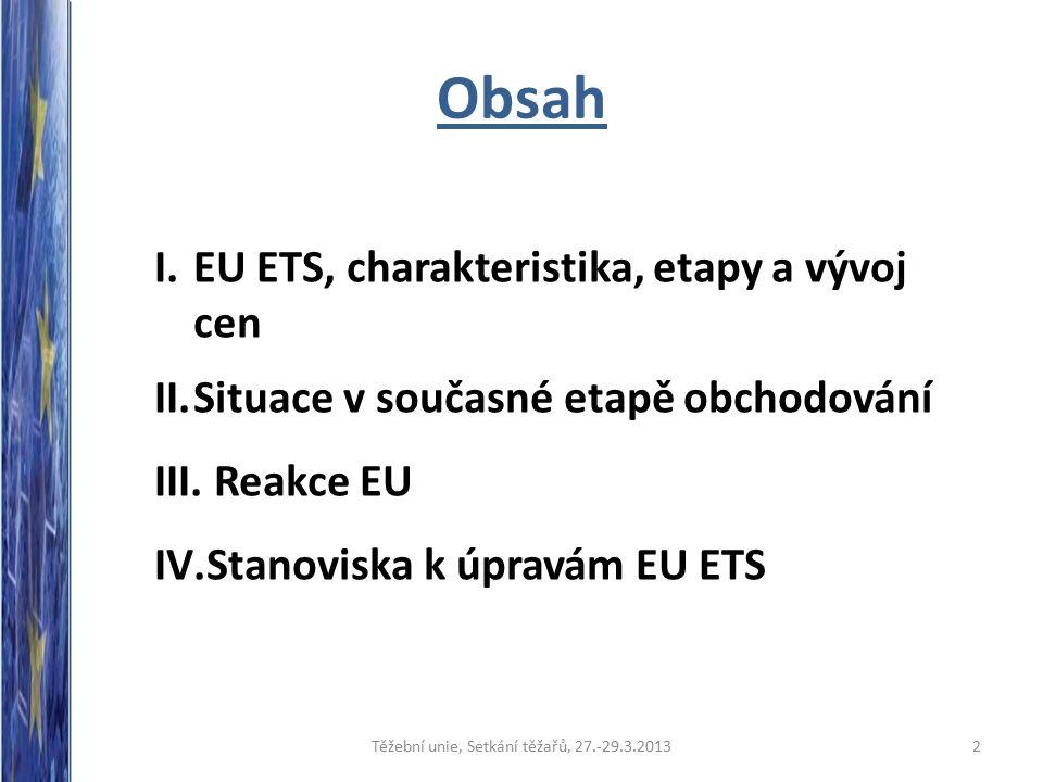 Obsah I.EU ETS, charakteristika, etapy a vývoj cen II.Situace v současné etapě obchodování III.