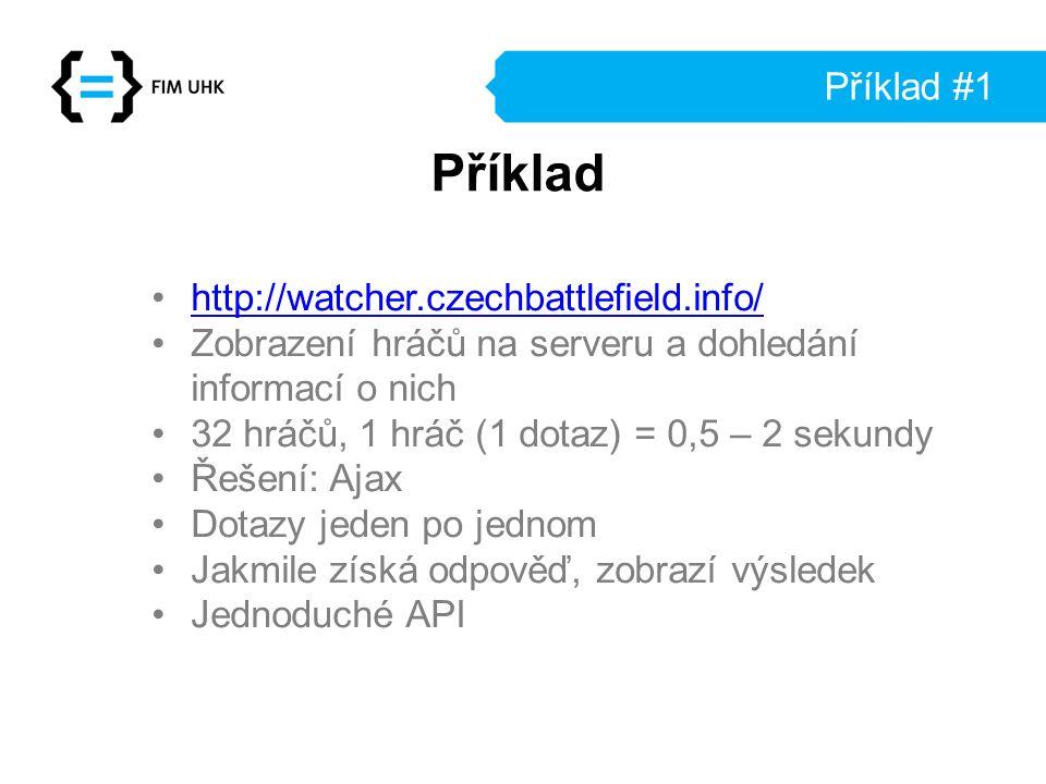 Příklad #1 http://watcher.czechbattlefield.info/ Zobrazení hráčů na serveru a dohledání informací o nich 32 hráčů, 1 hráč (1 dotaz) = 0,5 – 2 sekundy