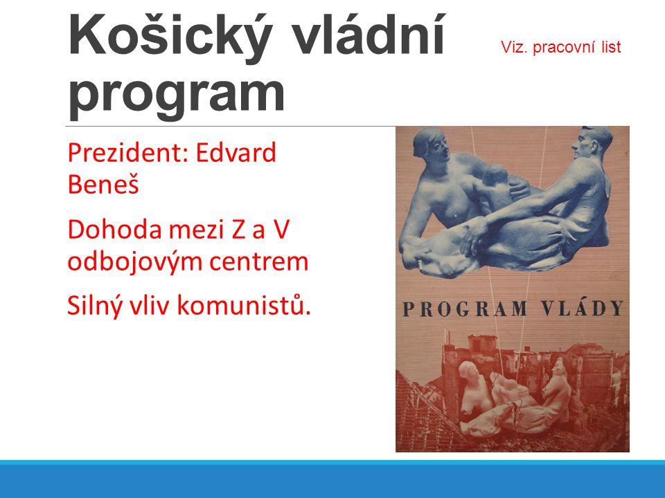 Košický vládní program Prezident: Edvard Beneš Dohoda mezi Z a V odbojovým centrem Silný vliv komunistů. Viz. pracovní list