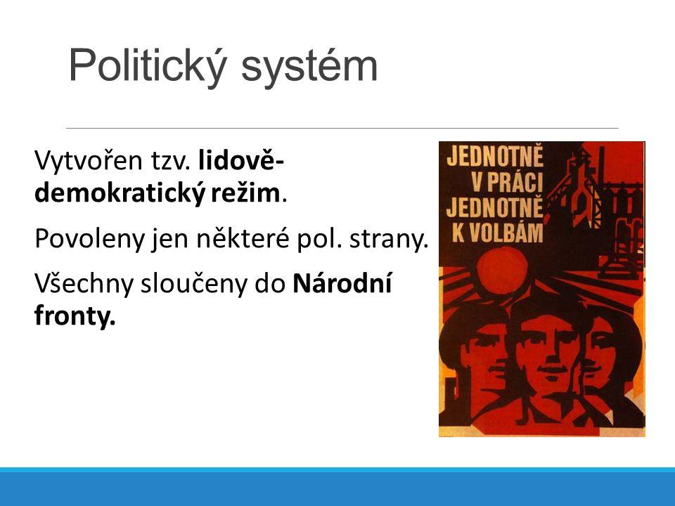 Politický systém Vytvořen tzv. lidově- demokratický režim. Povoleny jen některé pol. strany. Všechny sloučeny do Národní fronty.