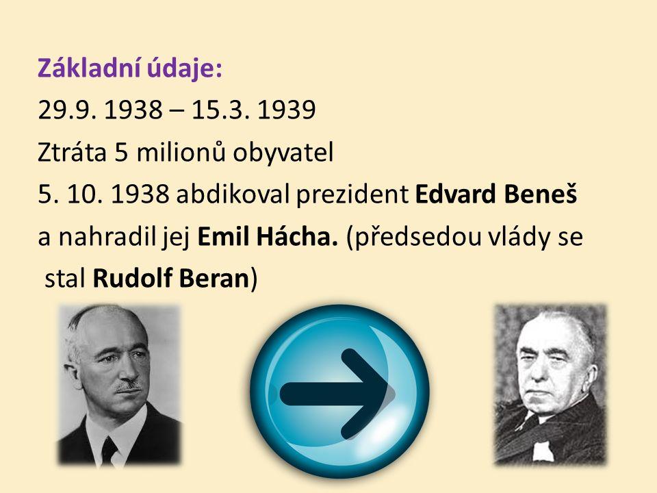 Základní údaje: 29.9. 1938 – 15.3. 1939 Ztráta 5 milionů obyvatel 5.