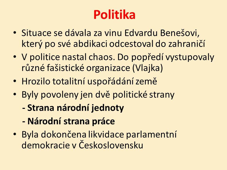 Politika Situace se dávala za vinu Edvardu Benešovi, který po své abdikaci odcestoval do zahraničí V politice nastal chaos.