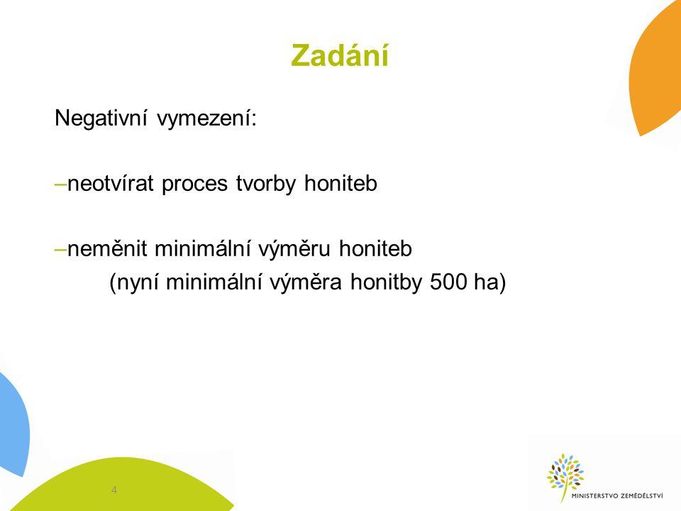 Zadání Negativní vymezení: –neotvírat proces tvorby honiteb –neměnit minimální výměru honiteb (nyní minimální výměra honitby 500 ha) 4