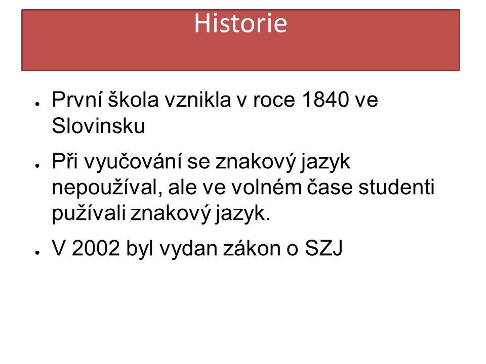 HIST Historie ● První škola vznikla v roce 1840 ve Slovinsku ● Při vyučování se znakový jazyk nepoužíval, ale ve volném čase studenti pužívali znakový jazyk.