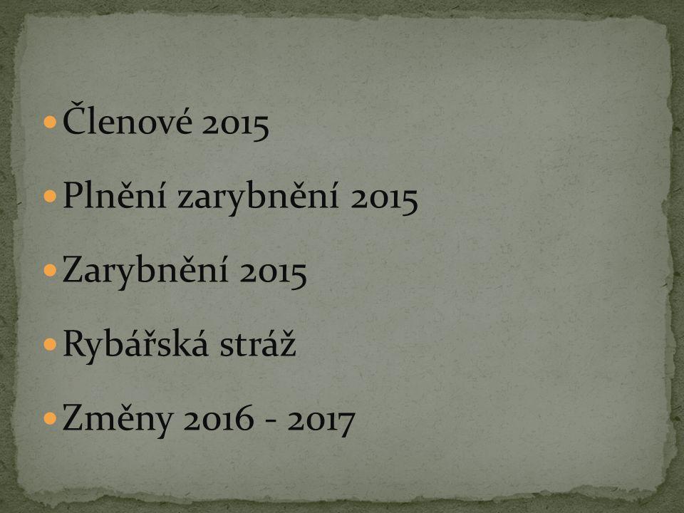 Členové 2015 Plnění zarybnění 2015 Zarybnění 2015 Rybářská stráž Změny 2016 - 2017