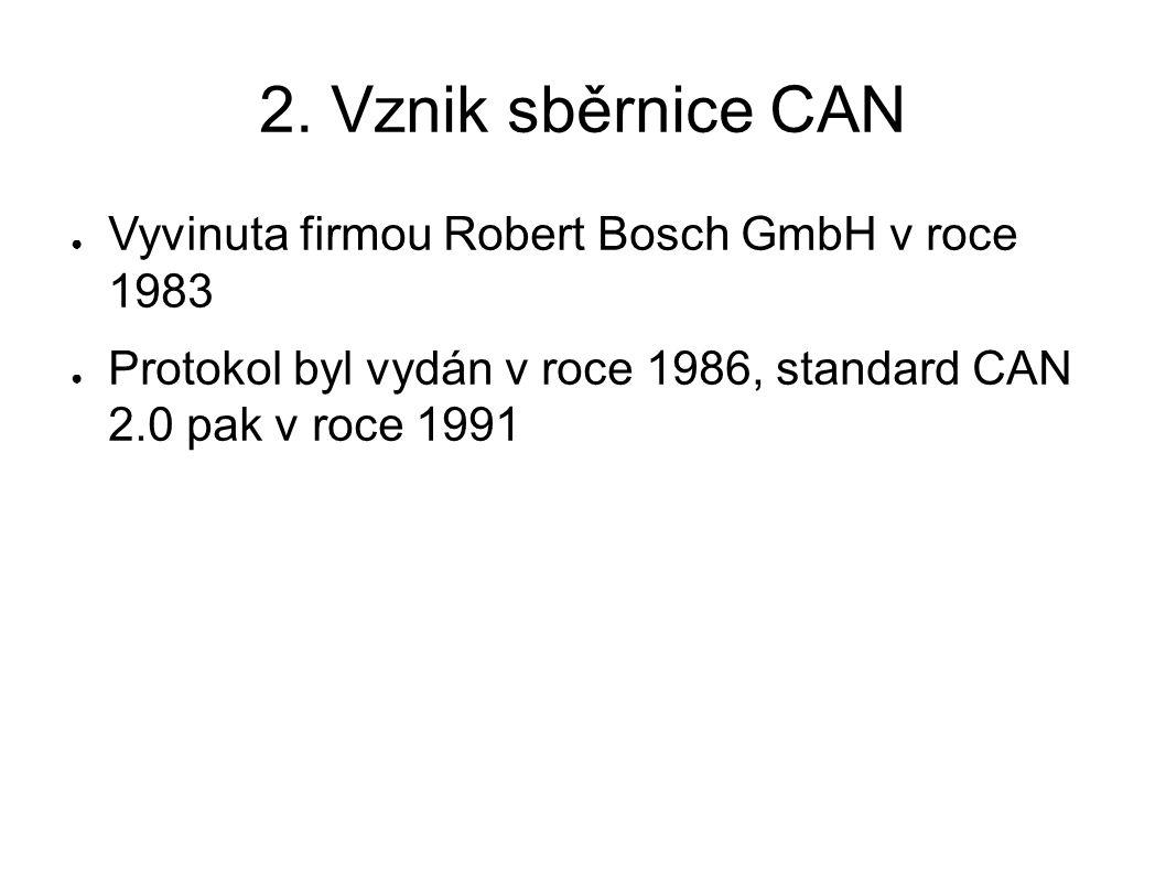 2. Vznik sběrnice CAN ● Vyvinuta firmou Robert Bosch GmbH v roce 1983 ● Protokol byl vydán v roce 1986, standard CAN 2.0 pak v roce 1991