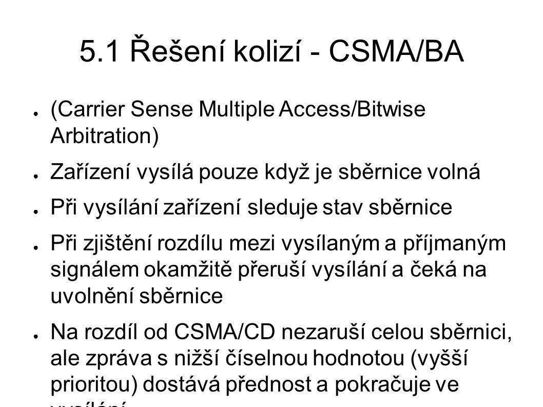 5.1 Řešení kolizí - CSMA/BA ● (Carrier Sense Multiple Access/Bitwise Arbitration) ● Zařízení vysílá pouze když je sběrnice volná ● Při vysílání zaříze