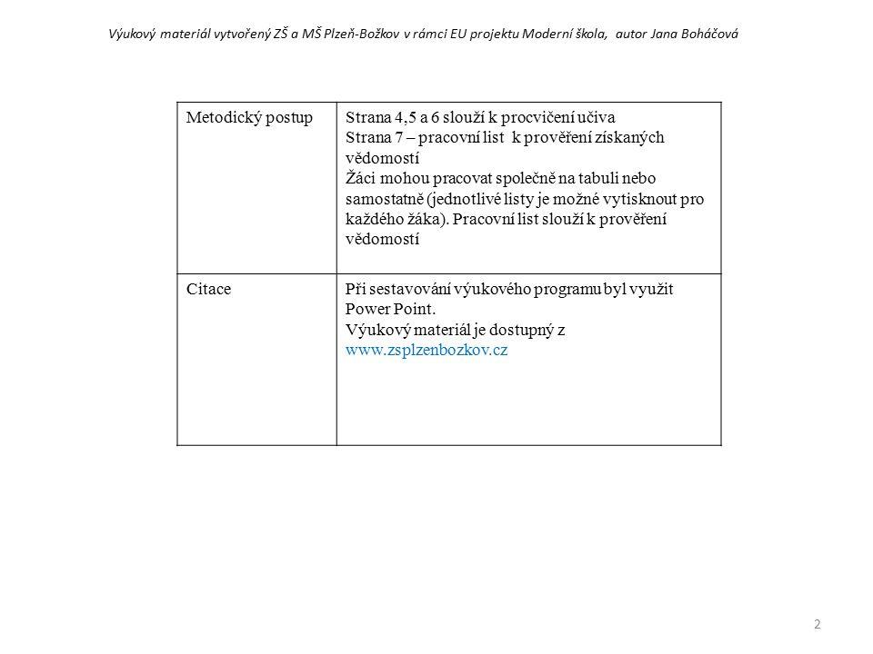 Metodický postupStrana 4,5 a 6 slouží k procvičení učiva Strana 7 – pracovní list k prověření získaných vědomostí Žáci mohou pracovat společně na tabuli nebo samostatně (jednotlivé listy je možné vytisknout pro každého žáka).